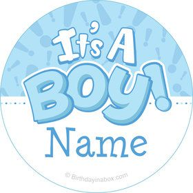 Gender Reveal: It's a Boy Personalized Mini Stickers (Sheet of 24)