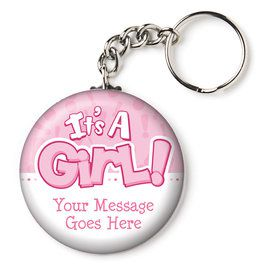 "Gender Reveal: It's a Girl Personalized 2.25"" Key Chain (Each)"