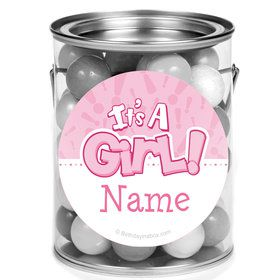 Gender Reveal: It's a Girl Personalized Mini Paint Cans (12 Count)