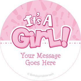 Gender Reveal: It's a Girl Personalized Stickers (Sheet of 12)