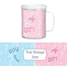 Gender Reveal Plastic Personalized Favor Mugs (Each)