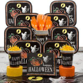 Ghostly Halloween Party Deluxe Tableware Kit Serves 16