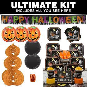 Ghostly Halloween Party Ultimate Tableware Kit Serves 16