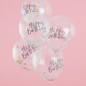 Ginger Ray Confetti Happy Birthday Latex Balloons