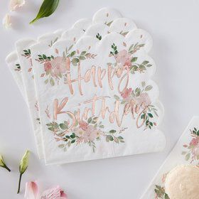 Ginger Ray Ditsy Floral Happy Birthday Napkins
