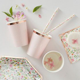 Ginger Ray Ditsy Floral Polka Dot & Rose Gold Cups