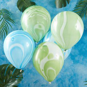 Ginger Ray Green & Blue Marble Latex Balloons