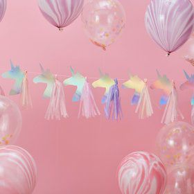 Ginger Ray Make a Wish 5' Foiled Unicorn Tassel Garland Banner