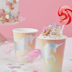 Ginger Ray Make a Wish Foiled Unicorn Tassel Paper Cups