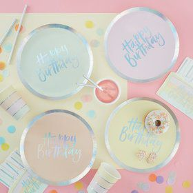 Ginger Ray Pastel Party Assorted Foil Happy Birthday Lunch Plates