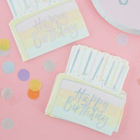Ginger Ray Pastel Party Cake Shaped Happy Birthday Lunch Napkins