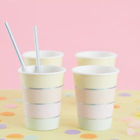 Ginger Ray Pastel Party Foil Stripe Cups