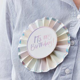 Ginger Ray Pastel Party It's My Birthday Rosette Foiled Badge