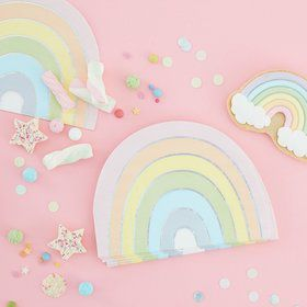 Ginger Ray Pastel Party Pastel Rainbow Beverage Napkins