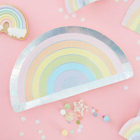 Ginger Ray Pastel Party Rainbow Shape Foiled Lunch Plates