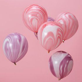 Ginger Ray Pink & Purple Marble Latex Balloons