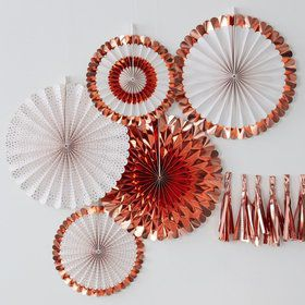 Ginger Ray Rose Gold Assorted Foiled Fan Decorations