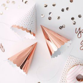Ginger Ray Rose Gold Assorted Scalloped Party Hats