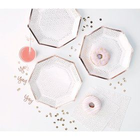 Ginger Ray Rose Gold Foiled Edge Spotty Lunch Plates