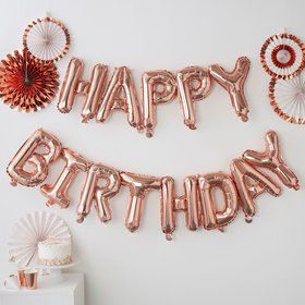 Ginger Ray Rose Gold Happy Birthday Balloon Banner
