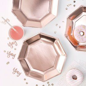 Ginger Ray Rose Gold Octagon Shaped Lunch Plates