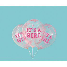 "Girl Clear Latex Balloons with Pink Confetti 12"", 6ct - Pre-Filled"