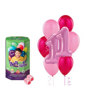 Girls 1st Birthday Balloons with HeliumTank