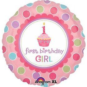 Girl's Cupcake 1st Birthday Balloon (each)