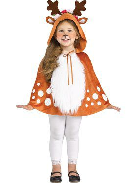 Girls Deer Hooded Caplet