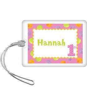 Girls' Polka Dot 1st Birthday Personalized Bag Tag (each)