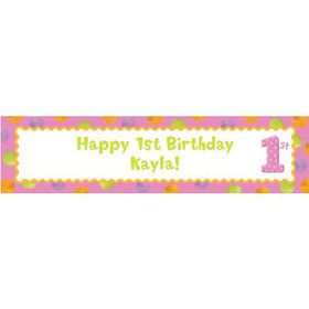 Girls' Polka Dot 1st Birthday Personalized Banner (Each)