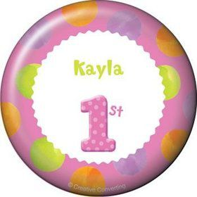 Girls' Polka Dot 1st Birthday Personalized Button (each)