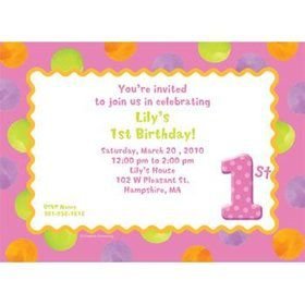 Girls' Polka Dot 1st Birthday Personalized Invitation (each)