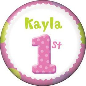 Girls' Polka Dot 1st Birthday Personalized Mini Button (each)