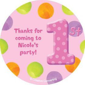 Girls' Polka Dot 1st Birthday Personalized Stickers (sheet of 12)