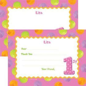 Girls' Polka Dot 1st Birthday Personalized Thank You Note (each)