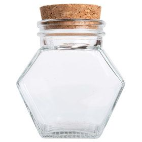 "Glass Hexagon 4"" Jar (Set of 12)"