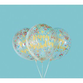 "Glitzy Gold Birthday Clear Latex Balloons with Confetti 12"", 6ct - Pre-Filled"