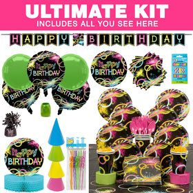 Glow Birthday Party Ultimate Tableware Kit (Serves 8)