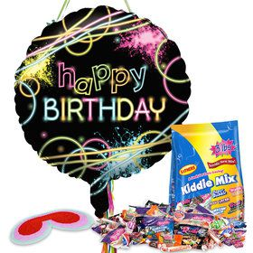 Glow Birthday Pull String Pinata Kit