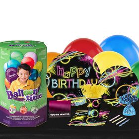 Glow Party 16 Guest Party Pack and Helium Kit