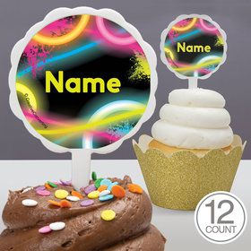 Glow Party Personalized Cupcake Picks (12 Count)