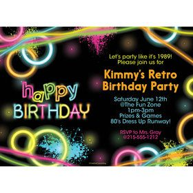 Glow Party Personalized Invitation (Each)