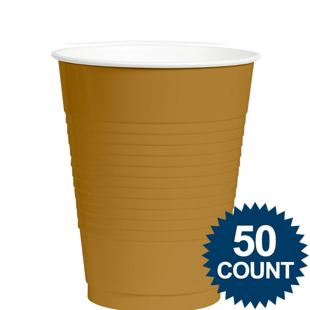 Gold 12Oz. Plastic Cup (50 Pack) BB43680019
