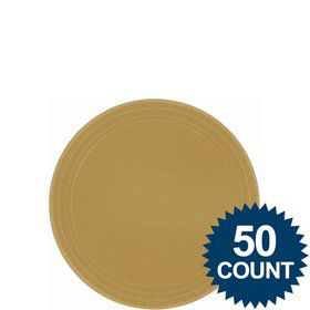 "Gold 7"" Paper Cake Plates (50 Pack)"