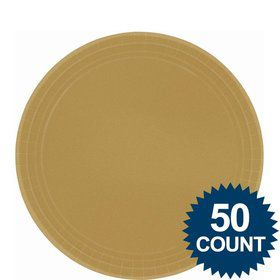 "Gold 9"" Luncheon Paper Plates (50 Pack)"