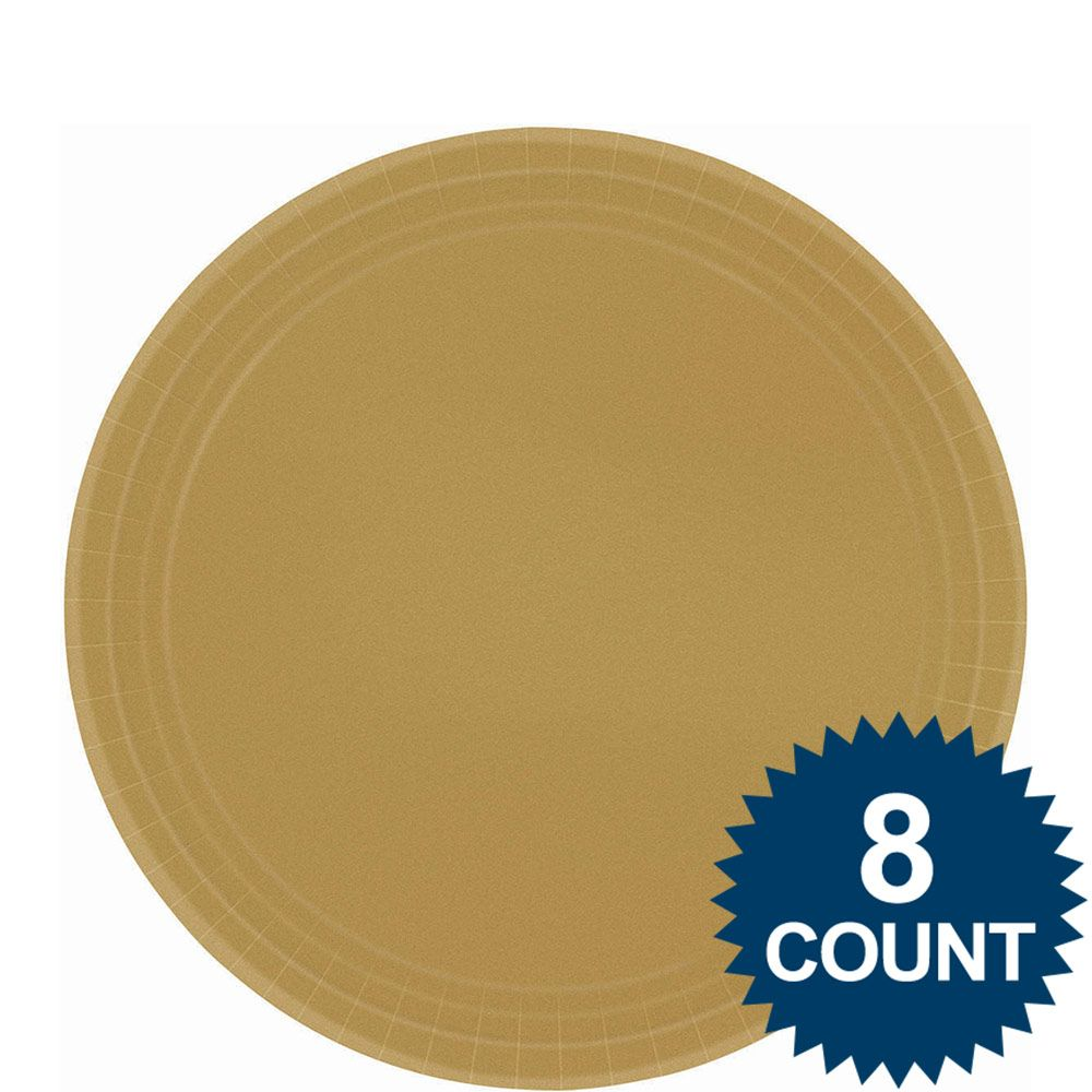 "Gold 9"" Paper Luncheon Plates (8 Pack) BB5501519"