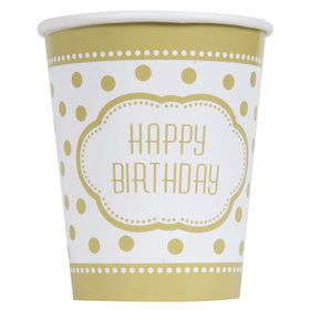 Gold and White Birthday 9oz. Paper Cups (8)