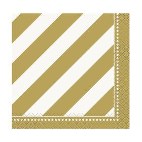 Gold and White Birthday Beverage Napkins (16)