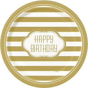 Gold and White Birthday Dinner Plates (8)